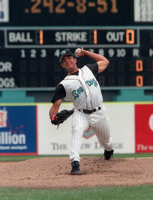 STAFF PHOTO BY HERB SWANSON -- Sunday, August 15, 1999 -- Sea Dog's pitcher Michael Tejera delivers during Sunday's game against the Erie Seawolves at Hadlock Field in Portland. Herb Swanson