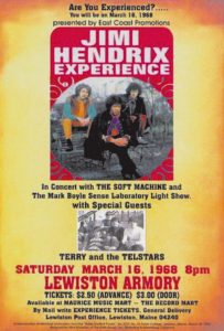 A POSTER promoting the March 16, 1968, Jimi Hendrix concert in Lewiston featured a local band to open, Terry and the Telstars.