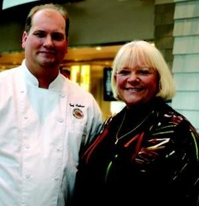 Andrew Omo, executive chef of Linda Bean's Perfect Maine restaurant in Freeport, will participate in Spectrum Generations' Meals on Wheels Celebrity Challenge. At right is Linda Bean.