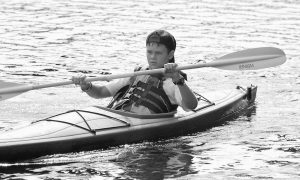 """AIDAN SMITH, 12, was one of several youngsters who participated in the recent """"Paddle for Youth"""" to support the Youth Scholarship program at the Bath Area Family YMCA."""