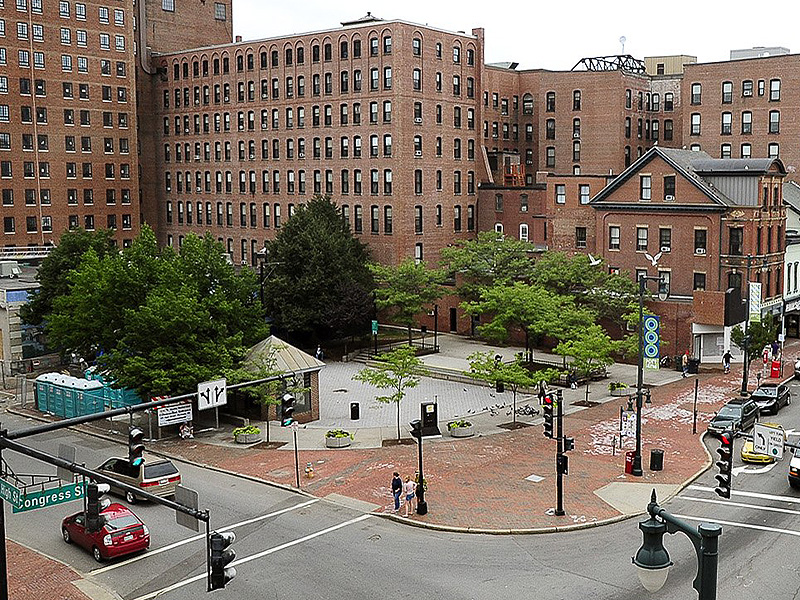 The space at Congress and High streets, which started out holding a wooden row house, has undergone many changes over the years. Walgreen's replaced the row house, and Dunkin' Donuts moved in later. In the 1980s, the space was converted into a plaza. Most recently, the city wanted to sell most of the half-acre park to a hotel owner but voters decided to protect it.