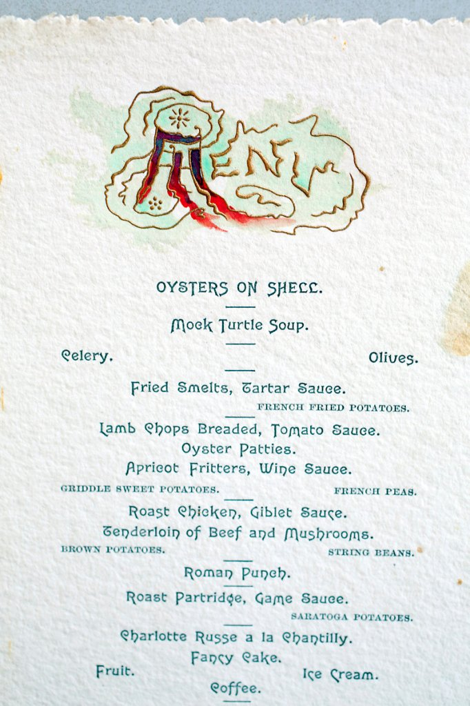 A special menu from The Preble House in Portland for an 1888 celebration organized by friends of Alger V. Currier in honor of the artist from Hallowell.