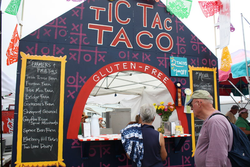 Among more than 40 food vendors, the Tic Tac Taco stand offers gluten-free tacos with either vegan or chicken fillings.