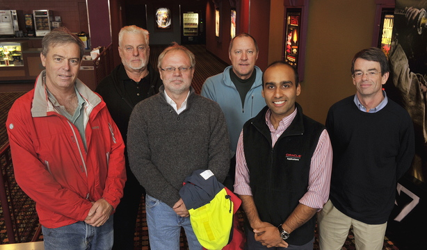 """Six Maine sailors gathered Thursday at Clarks Pond Cinema in South Portland for an advance screening of the new movie """"All is Lost."""" They used their combined 242 years of sailing experience to critique the film's seagoing tactics and realism. From left are Peter Stoops, Jeff Aumuller, David Dodson, Max Fletcher, Hasan Adil and Alex Agnew."""