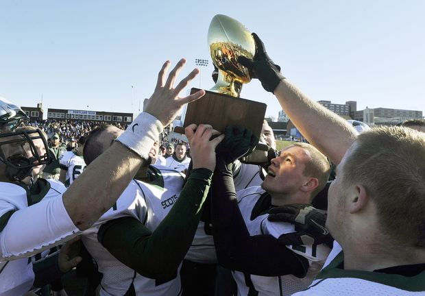 The goal from the start was to win the Class A football championship, and Bonny Eagle reached that goal Saturday, using a final drive to rally past Cheverus for a 31-28 victory at Fitzpatrick Stadium. And yes, the Scots got their wish. They raised the Gold Ball.