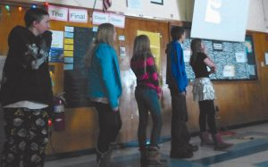 SEVERAL MEMBERS of the Gulf of Maine Research Institute visited Bath Middle School on Dec. 18 to watch the public service announcements presented by students and have a dialogue about the energy management project.