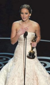 THIS FEB. 24 PHOTO shows Jennifer Lawrence accepting the award for best actress in a leading role for