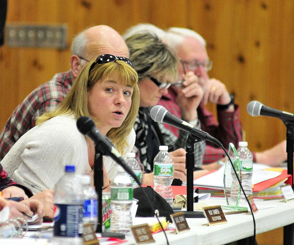 Joe Phelan/Kennebec Journal File Photo In this 2014Selectperson Melanie Jewell speaks during a debate during the 2014 Belgrade town meeting on Saturday March 15, 2014 at the Center For All Seasons.