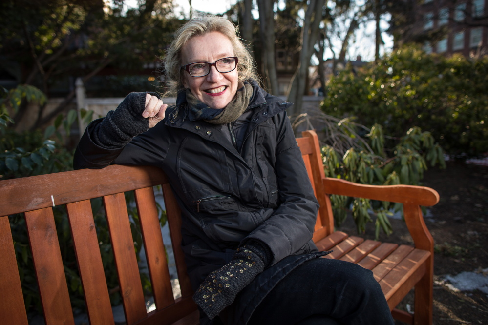 Elizabeth Strout divides her time between New York and Maine. This photo was taken in Cambridge, Mass., where she was making an appearance.