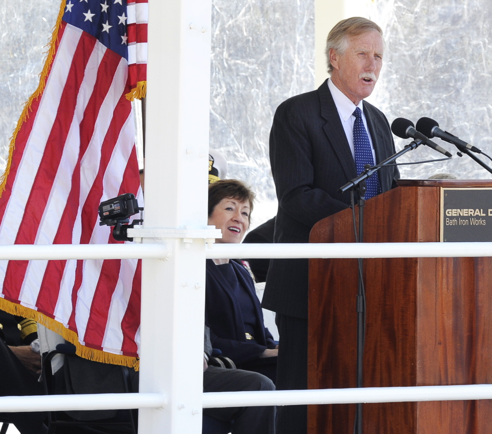Maine Sen. Angus King speaks during the ceremony. Sen. Susan Collins is at left.