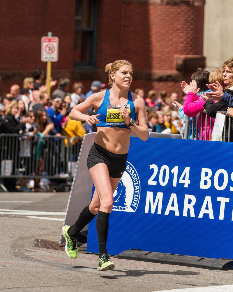 """Erica Jesseman of Scarborough, the top Maine female runner, heads onto Boylston Street, a quarter-mile from the finish, after earlier thinking, """"I can't do this. I'm not strong enough."""""""
