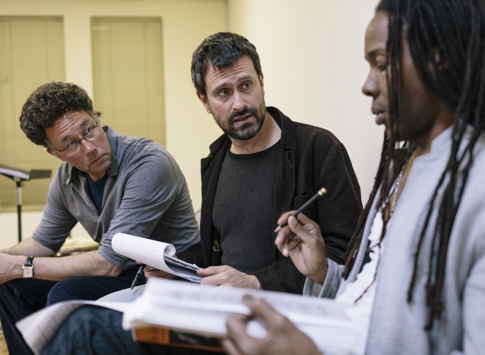 """Daniel Sonenberg, center, discusses the rehearsal of the Portland Ovations concert production of """"The Summer King"""" with director Lemuel Wade and conductor Steven Osgood in New York City on April 29, 2014."""