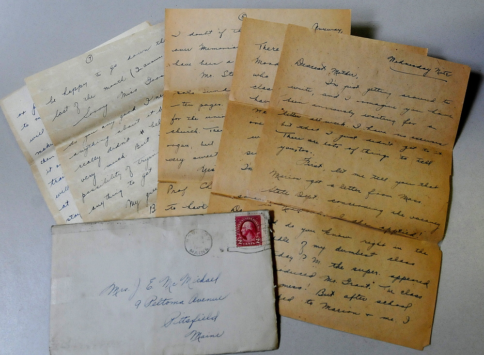 An envelope bearing a 2-cent stamp is shown with a letter mailed in 1931 by Miriam McMichael Robinson.