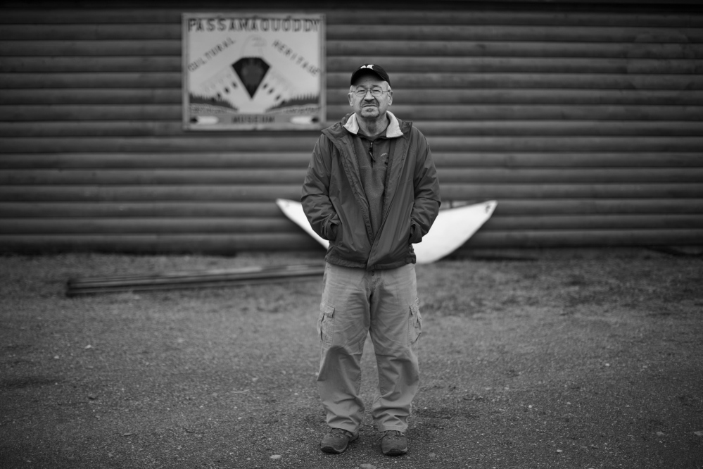 INDIAN TOWNSHIP, ME - APRIL 28: Passamaquoddy Tribal historian Donald Soctomah is seen outside the museum he curates at Indian Township Reservation Monday, April 28, 2014. (Photo by Gabe Souza/Staff Photographer)