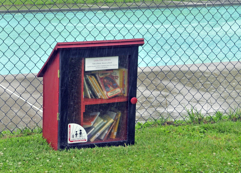 A Little Free Library box in McCall's Park off Eastern Avenue in Augusta.