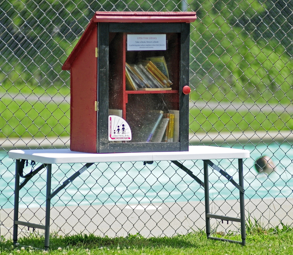 Children playing in the McCall's Park pool are seen behind the Little Free Library on Friday in Augusta.