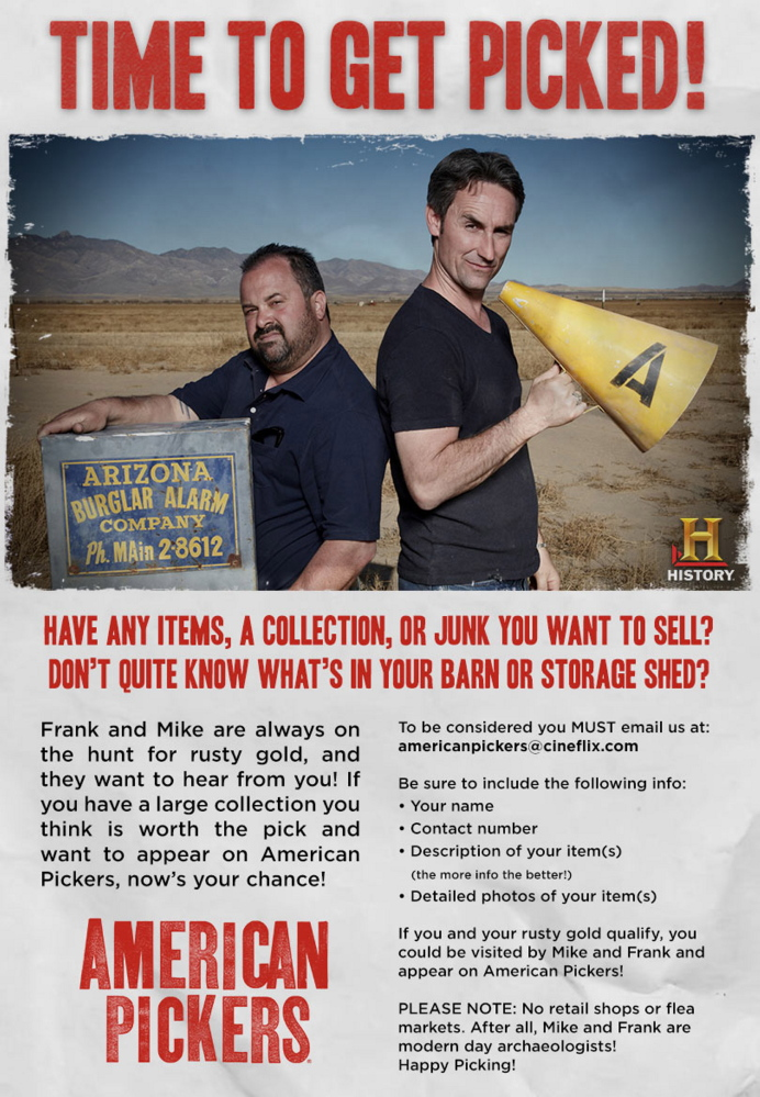 """The History Channel show """"American Pickers"""" is hoping to find places to search in Maine."""