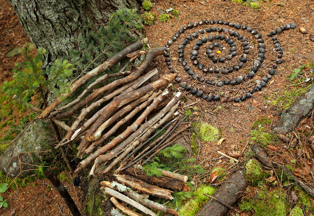 Fairy houses line the Cathedral Woods trail on Monhegan