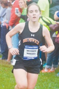 BRUNSWICK HIGH SCHOOL cross country runner Ruth Van Kampen competes in the Festival of Champions at Troy Howard Middle School in Belfast on Saturday.