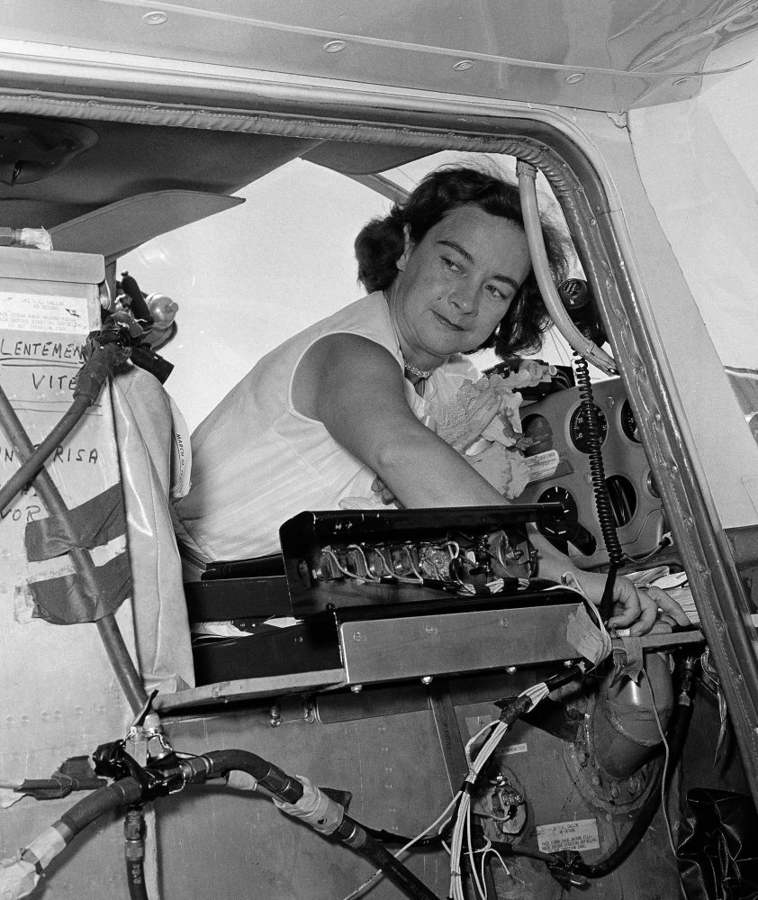 Jerrie Mock prepares to take off from Oakland, Calif., during her solo flight around the world in 1964. She succeeded where Amelia Earhart, her childhood idol,  had died trying.