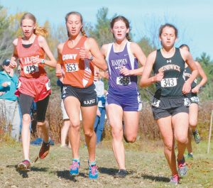 MT. ARARAT HIGH SCHOOL'S Katherine Leckbee, far left, and Brunswick's Tessa Cassidy, far right, competed in the Eastern Maine Class A Regional Cross Country Championships at Troy Howard Middle School in Belfast on Saturday. Cassidy won the race, while Leckbee finished fourth. Between Leckbee and Cassidy are Cony's Anne Guadalupi (353) and Hampden Academy's Elizabeth Labun (366). The Broncos won the team event, with the Dragons in second and the Eagles in fifth. Both Brunswick and Mt. Ararat will compete this upcoming Saturday at the State Class A Cross Country Championships in Belfast.