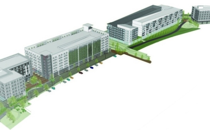 Rendering shows an aerial view of the revised plan for the 'midtow' project. Courtesy CBT Architects