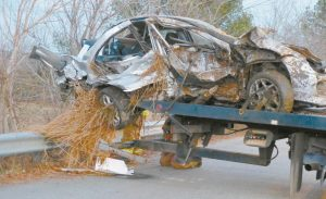THE VEHICLE DRIVEN BY SCOTT TRASK, 26, of Richmond, that went off Beedle Road Sunday afternoon, rolling over and ejecting all three occupants.