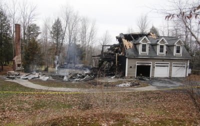 Police arrested Logan Valle on unrelated charges after his parents' home in Falmouth was destroyed by fire late Saturday. His parents were not home at the time, neighbors said. Jill Brady/Staff Photographer