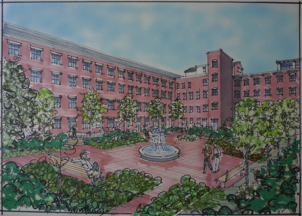 A rendering shows the proposed Lofts at Saco Falls in a former mill building in downtown Biddeford. The $15 million project will add 80 new apartment units in the city's mill district.