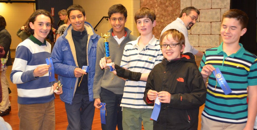 Members of Berwick Academy's eighth-grade mathletes team show their awards at the Southern Maine Math League's first meet of the academic year.  From left are Bryce Morales, Nikhil Agarwal, Mahesh Agarwal, Jed Breen, Eljah D'Ara, and Chris Eno.