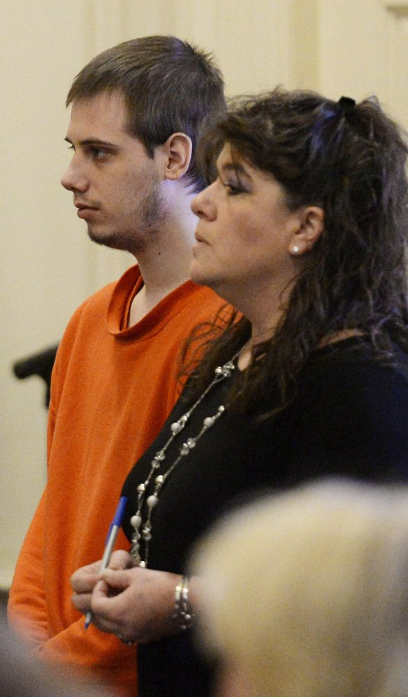 Gordon Collins-Faunce appears in York County Superior Court in 2013 with his attorney Amy Fairfield in Alfred, Maine. Collins-Faunce was convicted of killing his 10-week-old son, Ethan Henderson, on May 8, 2012.