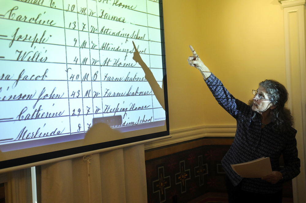 Candace Kanes, curator of the Maine Historical Society's Maine Memory Network, discusses the hundreds of former slaves who came to Maine in the last years of the Civil War on Monday during a Martin Luther King Day talk at the Southard House Museum in Richmond.
