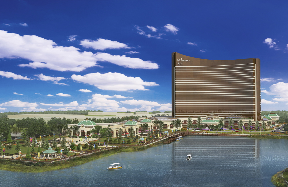 Wynn Resorts on Thursday unveiled this architectural rendering of a redesigned casino in Everett, Mass. Wynn Resorts has proposed a $1.6 billion resort, casino, hotel and entertainment complex for 33 acres on the Everett waterfront overlooking Boston.