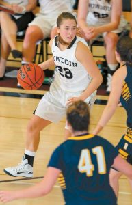 LUCAS HAUSMAN, top photo, and Sara Binkhorst lead the Bowdoin College basketball teams into NESCAC quarterfinal action on Saturday at Morrell Gymnasium in Brunswick.