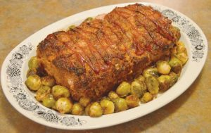 SPICY RED PEPPER MEATLOAF with roasted Brussels sprouts.