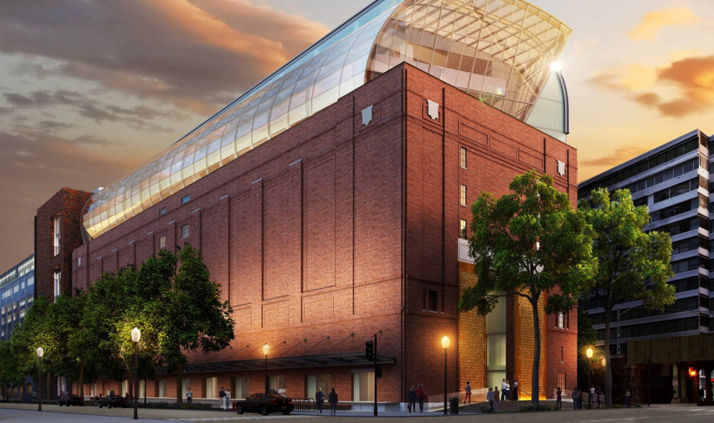 A street-view exterior rendering of the planned Museum of the Bible in Washington, D.C., located a few blocks from the Capitol and the National Mall, which is due to open in late 2017.