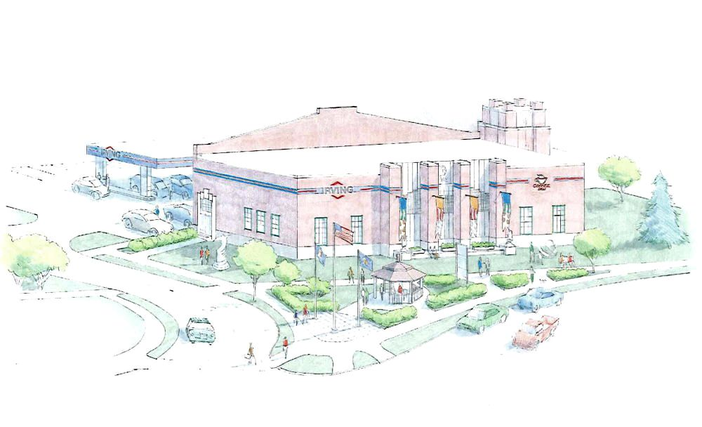 A rendering from a Planning Board application in 2014 for the South Portland Armory. The latest plan would move the gazebo to the left of the building. Courtesy of ALPHAarchitects