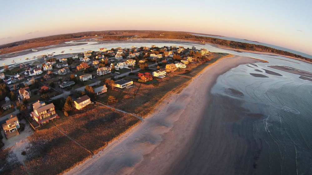 An aerial photograph of the Scarborough shore taken by Steve Girard using his drone. Girard says when he flies the drone in shoreland areas, he does so at sunrise and sunset when the beaches are less crowded. (Steve Girard photo)