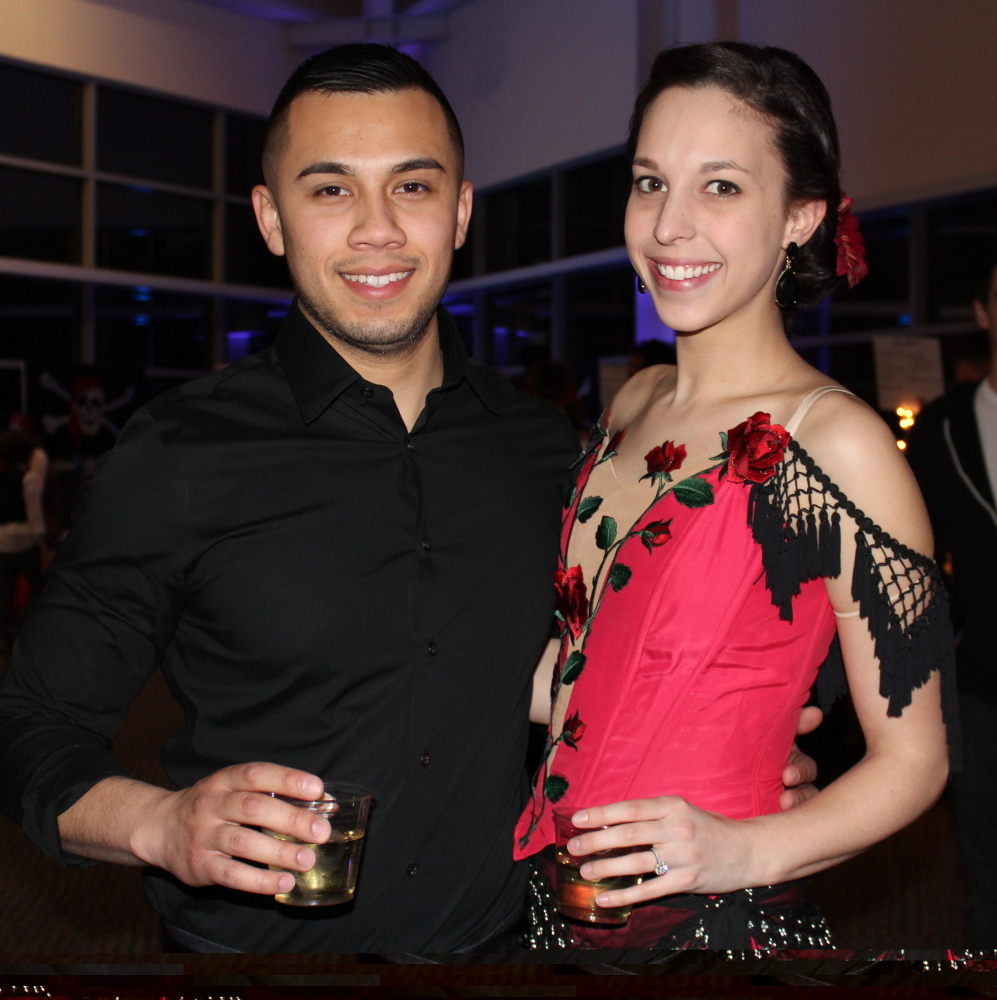 Nicholas Bodlovich with his fiancé, Caitlin Bernard, who was voted Pirate Queen.