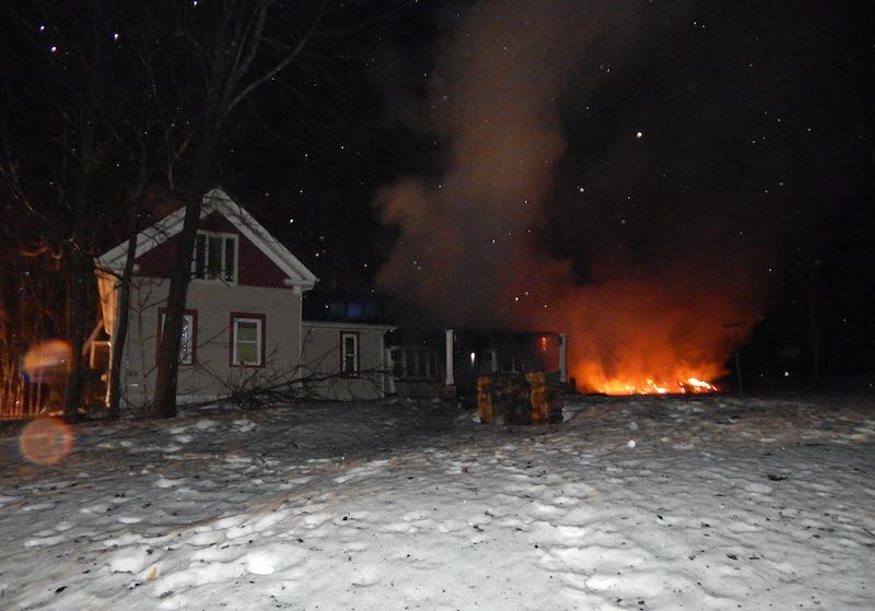 In Lebanon the five-alarm fire spread from the barn to the house, causing significant damage.