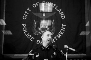 PORTLAND POLICE CHIEF MICHAEL SAUSCHUCK speaks at a press conference in Portland on Wednesday.