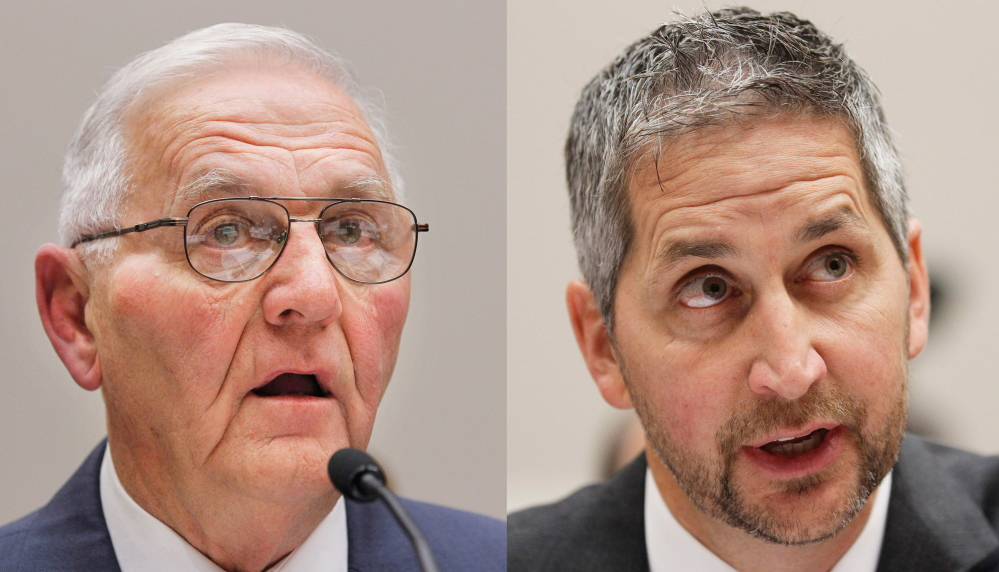"""Quality Egg LLC owner Austin """"Jack"""" DeCoster, left, and its chief operating officer, Peter DeCoster, will pay $100,000 apiece as part of a plea agreement."""