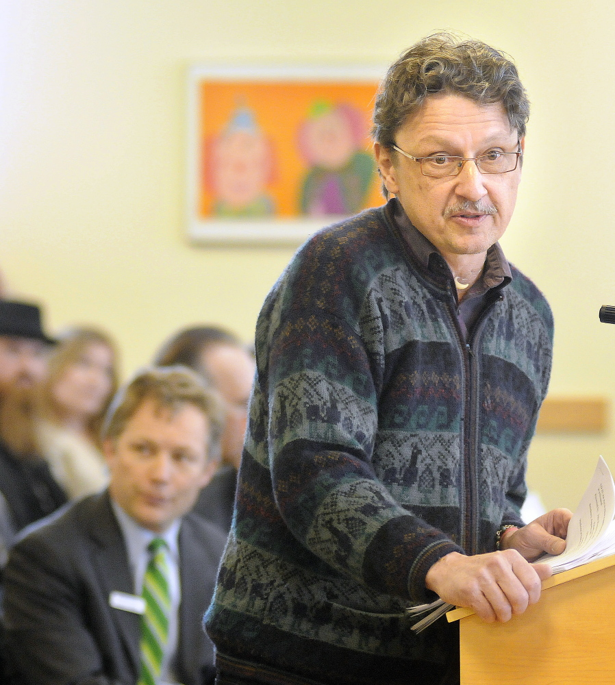 Dr. John Woytowitz speaks about a proposal to allow patients to use medical marijuana during hospital stays, during a hearing at the State House in Augusta on Monday.