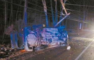 LAWRENCE ST. AMANT, 18, with a last know address in Lisbon Falls, was headed eastbound on Route 196 towards Topsham Monday when he allegedly fell asleep and his vehicle drifted off the road. The vehicle then struck and snapped a telephone pole and rolled over.