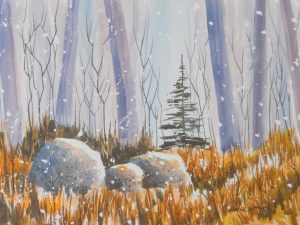 """LIGHT SNOW"" WATERCOLOR, BY KEN CARLSON OF GARDINER"