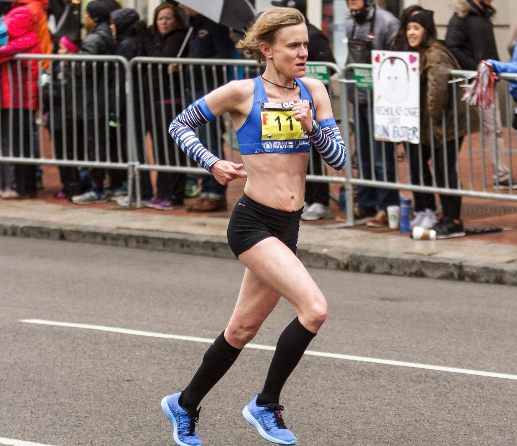 Kristin Barry of Scarborough was the first Mainer to cross the finish line at the Boston Marathon on Monday. Photo courtesy of Kevin Morris