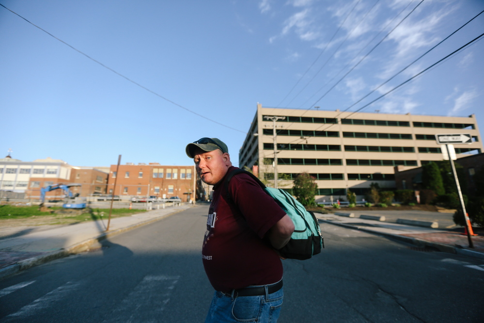 A convicted sex offender, Sumner Swett, 38, says he came to Portland because there was no room in Bangor's shelter. After Swett's psychiatric treatment, Acadia Hospital paid his way to Portland to find shelter. Whitney Hayward/Staff Photographer