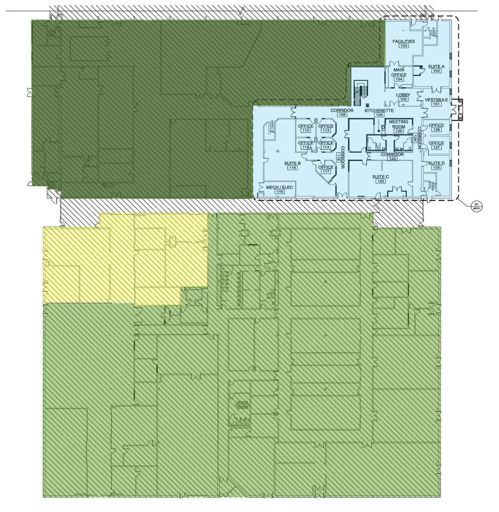 TechPlace's floor plan: Green areas are individual manufacturing space, blue is shared office space, yellow is shared manufacturing space.