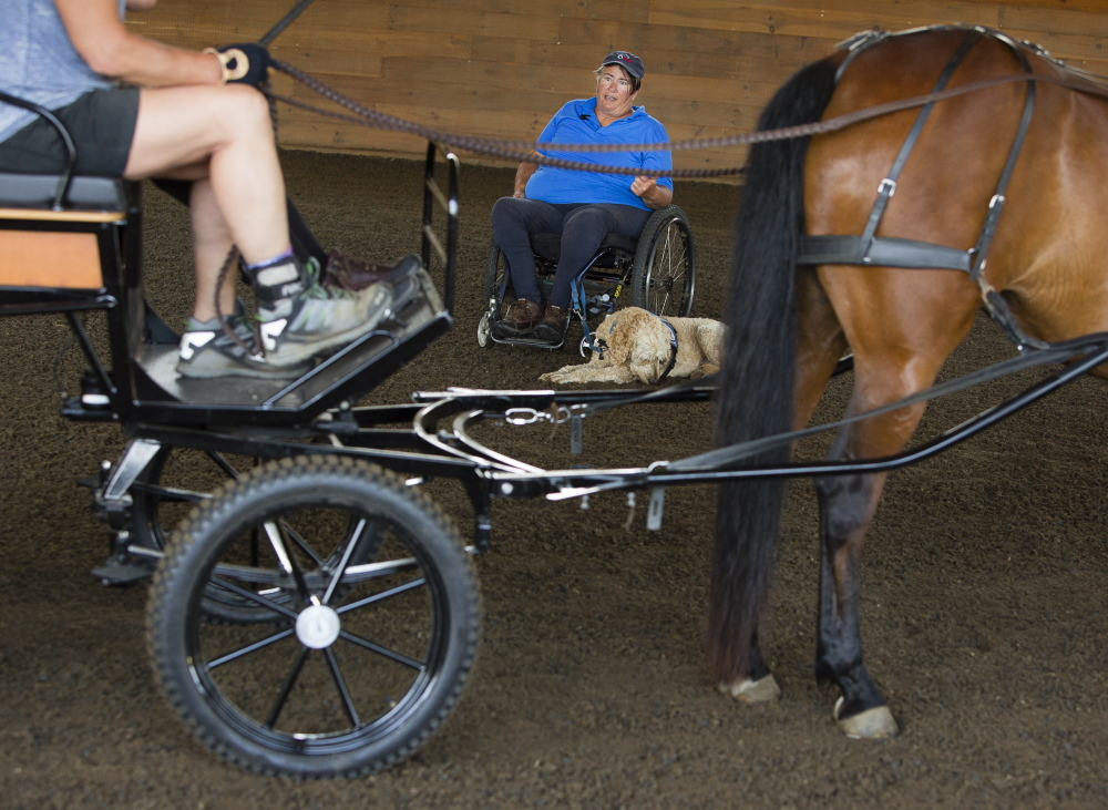 Para-equestrian driving coach Diane Kastamay of California, a para-equestrian driving world champion, coaches during an education and training event at Carlisle Academy in Lyman on Saturday. Carl D. Walsh/Staff Photographer