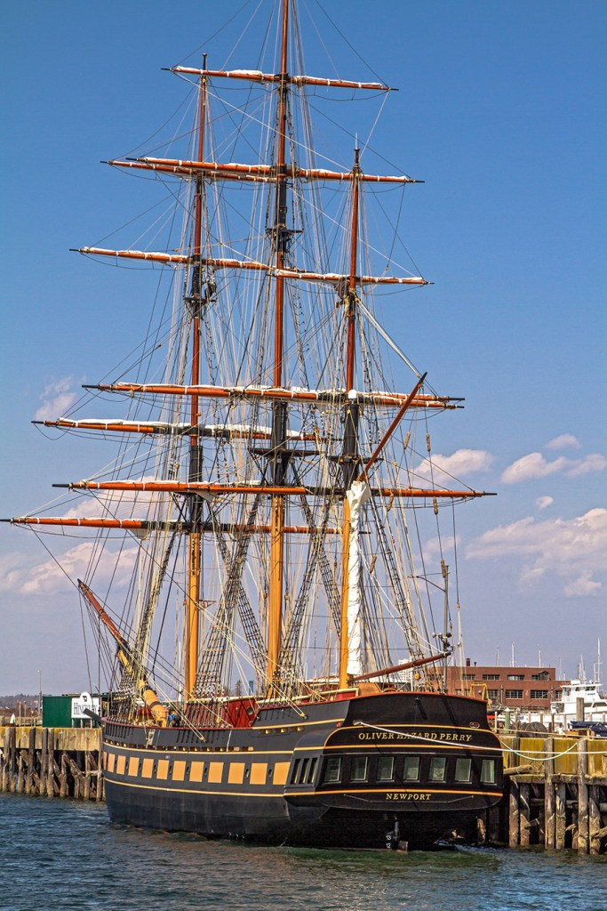 Ayan Ahmed and Nathan Robinson will sail aboard the Oliver Hazard Perry, a 210-foot square-rigger that is the first fully-rigged oceangoing ship to have been built in the U.S. in 110 years. Photo courtesy of Oliver Hazard Perry Rhode Island